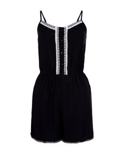 Teens Black Button Front Embroidered Playsuit | New Look