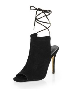 Black Suede Lace Up Peep Toe Heels | New Look