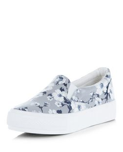 Wide Fit White Floral Print Flatform Slip On Plimsolls  | New Look