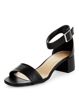 Black Ankle Strap Block Heel Sandals | New Look