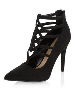 Black Suedette Laser Cut Out Pointed Heels  | New Look