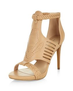 Stone Woven Cut Out Heels  | New Look