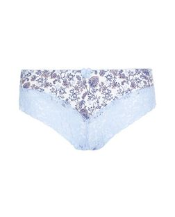 Blue Paisley Print Lace Leg Brazilian Briefs  | New Look