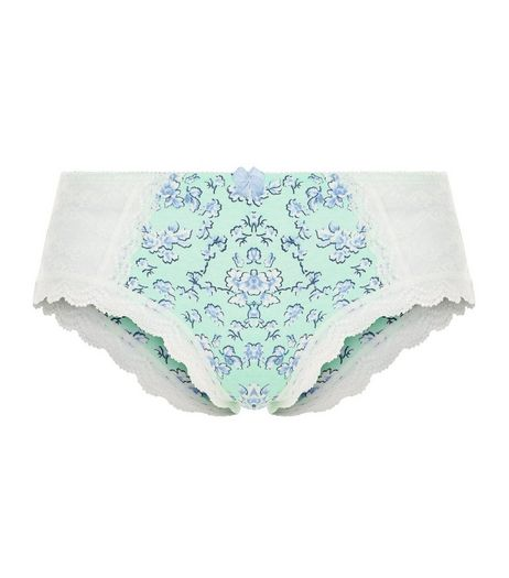 Blue Abstract Print Lace Panel Short Briefs  | New Look