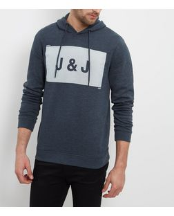 Jack and Jones Navy Logo Hoodie  | New Look
