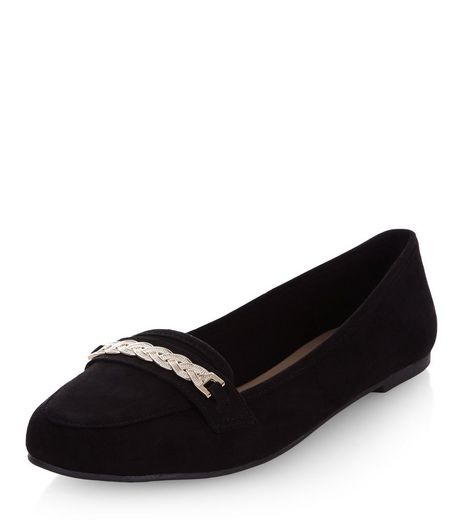 Black Chain Trim Loafers  | New Look