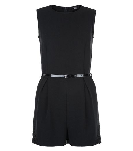 Teens Black Crepe Crochet Side Playsuit  | New Look
