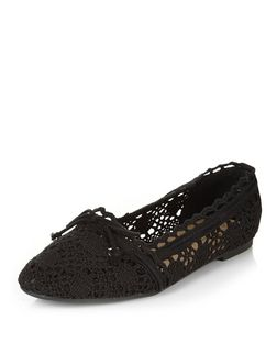 Teens Black Crochet Tie Front Ballet Pumps | New Look