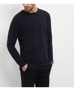 Jack and Jones Navy Crew Neck Jumper  | New Look