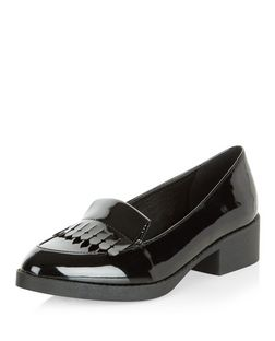 Teens Black Patent Fringed Block Heel Loafers | New Look