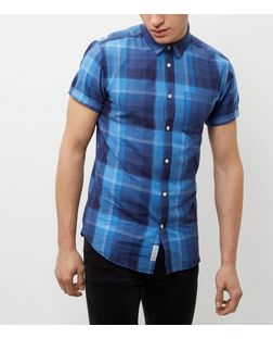 Jack and Jones Navy Check Short Sleeve Shirt | New Look