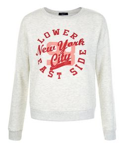 Teens White Marl New York City Print Sweater | New Look