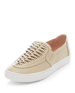 Stone Woven Panel Slip On Plimsolls  | New Look
