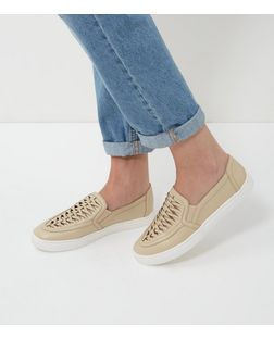 Stone Woven Panel Slip On Plimsolls