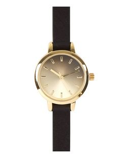 Black Ombre Face Skinny Strap Watch  | New Look