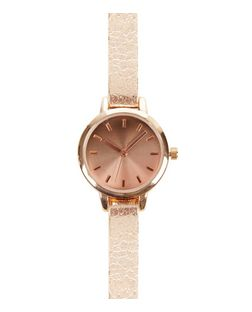Rose Gold Textured Skinny Strap Watch  | New Look