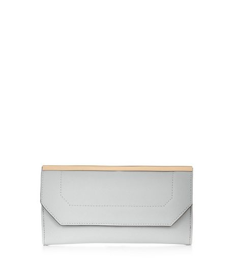 Pale Blue Geo Metal Bar Purse  | New Look