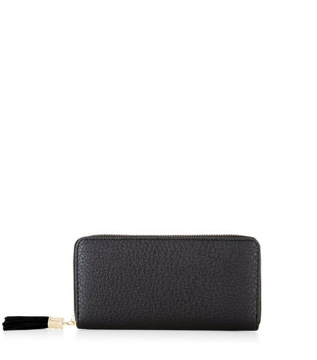 Black Textured Zip Around Purse  | New Look