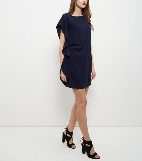 John Zack Navy Ruffle Side Shift Dress | New Look