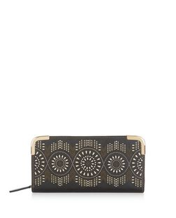 Black Laser Cut Out Zip Around Purse | New Look