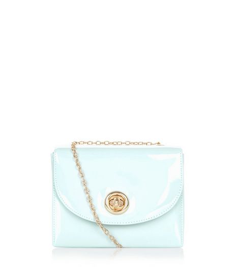 Mint Green Patent Box Shoulder Bag  | New Look