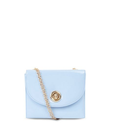Pale Blue Patent Box Shoulder Bag  | New Look