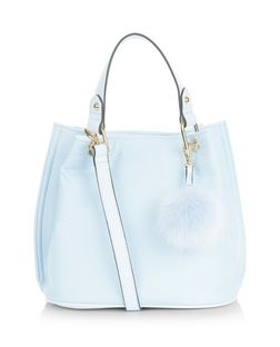 Pale Blue Snakeskin Textured Pom Pom Trim Duffle Bag  | New Look