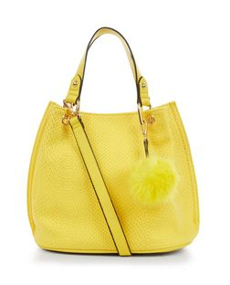 Yellow Snakeskin Textured Pom Pom Trim Duffle Bag  | New Look