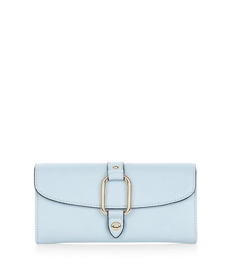 Pale Blue Metal Clip Front Purse | New Look