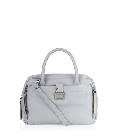Pale Blue Square Bowler Bag  | New Look
