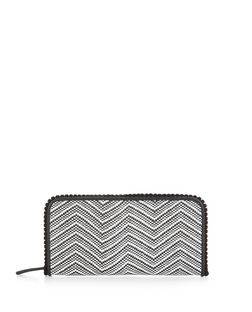 Monochrome Aztec Texture Bobble Trim Purse  | New Look
