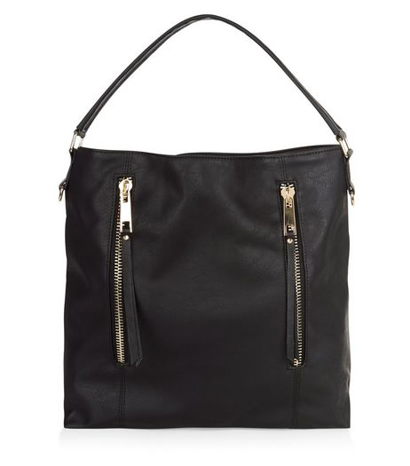 Black Double Zip Front Shoulder Bag  | New Look