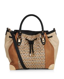 Brown Zig Zag Print Panel Shopper Bag | New Look