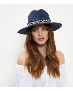 Navy Aztec Print Trim Fedora  | New Look