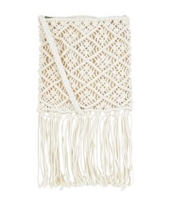 Cream Tile Crochet Fringe Hem Across Body Bag  | New Look