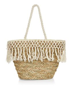 Cream Tassel Straw Shopper Bag | New Look
