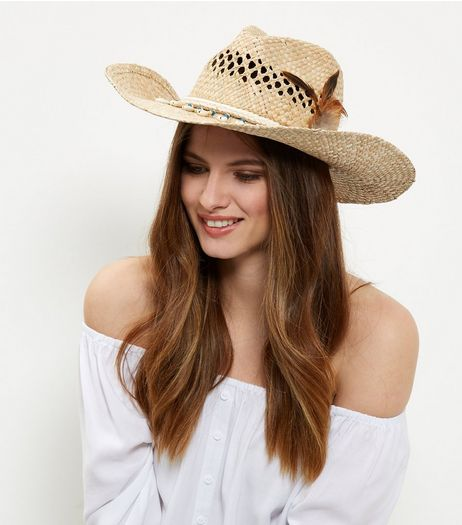 Stone Beaded Feather Trim Straw Cowboy Hat  | New Look