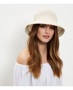 Cream Crochet Bucket Hat  | New Look