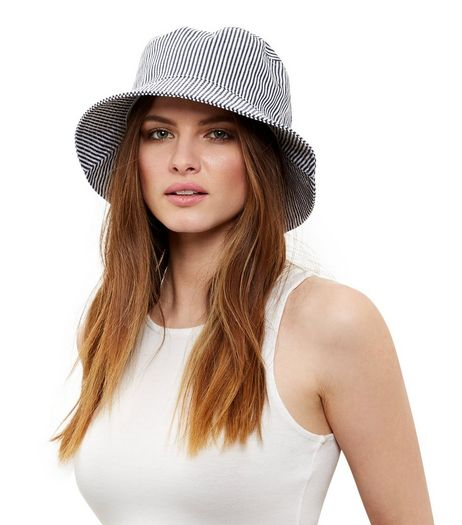 Blue Stripe Bucket Hat  | New Look