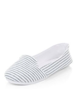 Blue Stripe Slip On Plimsolls  | New Look