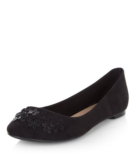 Black 3D Flower Pumps  | New Look