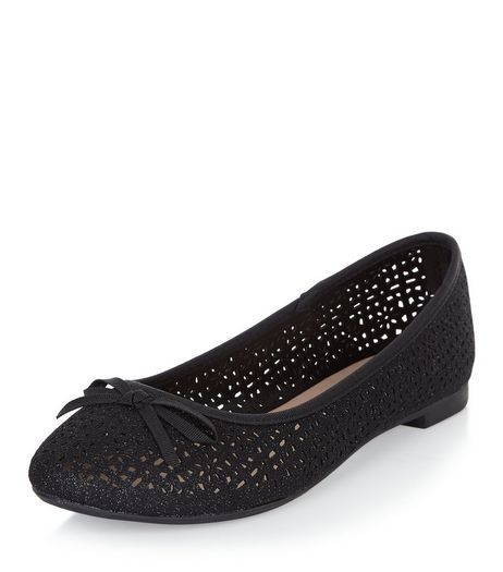 Black Glitter Laser Cut Out Ballet Pumps  | New Look