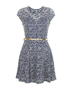 Mela Navy Floral Print Metallic Lace Skater Dress | New Look