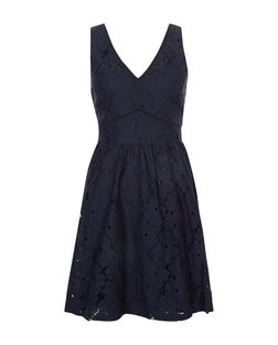 Navy Lace V Neck Skater Dress  | New Look