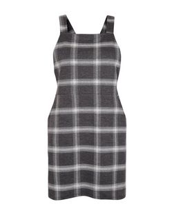 Petite Grey Check Pinafore Dress | New Look