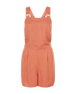 Rust Twill Pinafore Playsuit | New Look