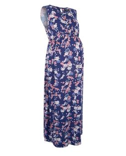Maternity Blue Floral Print Sleeveless Maxi Dress | New Look
