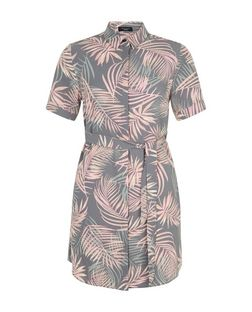Petite Pink Leaf Print Shirt Dress | New Look