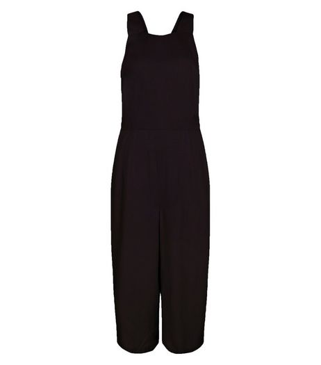 Black Pinafore Culotte Jumpsuit | New Look