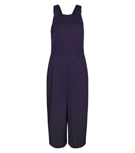 Navy Pinafore Culotte Jumpsuit | New Look